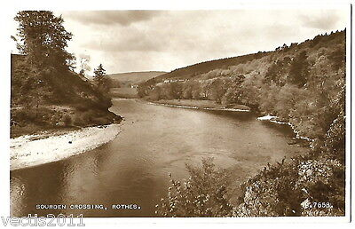 Sourden Crossing, Rothes, Moray, Scotland vintage Real Photo Postcard - 1954