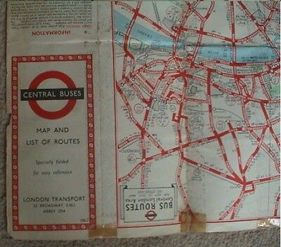 1962 London Transport Central Buses Map List Of Routes