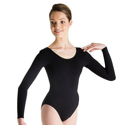 Body Wrappers BWC126 Girl's Extra Small 2-3 (Fits 1-2) Black Long Sleeve Leotard