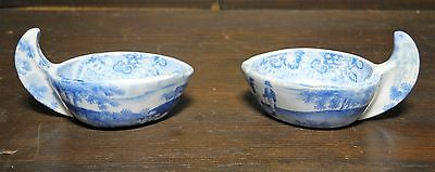 Pearlware blue and white transfer printed butter boats C. 1830