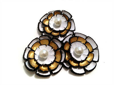 Layered leather cabochon flowers White and gold artificial flowers Flat back