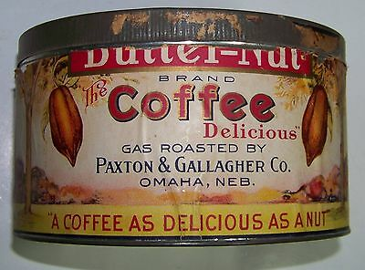 Butternut 3 Pound Coffee Tin - Paper Label - Paxton and Gallagher - Omaha