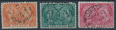 Canada 1897 SG122, 124, 126 Queen Victoria Jubilee definitives used