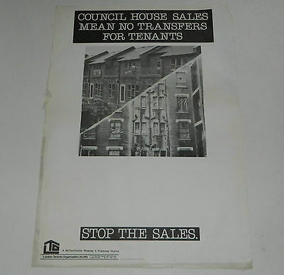 LONDON TENNANTS ORGANISATION 1970's POSTER POLITICAL HOUSING GOVERNMENT
