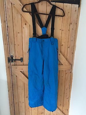 Boys Girls Unisex Blue Ski Trousers Salopettes Age 9-10y