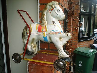 Vintage 1950's Childs Metal / Tin Decorated Mobo Horse