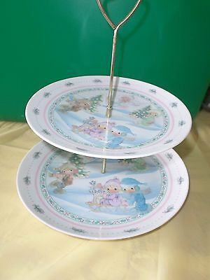 Precious Moments 2 Tiered Food Snack Tray Server Christmas Winter Porcelain---Z