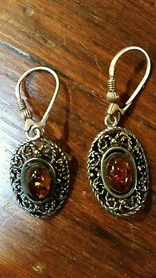 Genuine Amber and 925 Sterling Silver drop earrings pretty filigree design