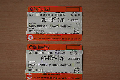 a pair of Day travel cards  for London