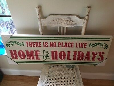 """Home for the Holidays Vintage Style Large 36"""" x 12"""" Christmas Wall Sign New!"""