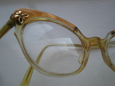 Vintage 50's GOLD/amber HCO CATS EYE Glasses/Frame/Spectacles