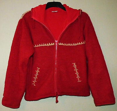 Womens pure wool fleece-lined hand knitted hooded jacket by Pachamama size M