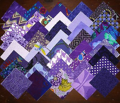 80 Purple mixed prints cotton fabric quilting 2.5 inch squares #99
