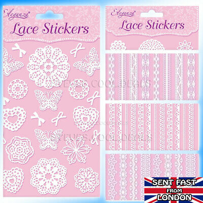 LACE Border Edging STICKERS Self Adhesive Card Craft Butterflies Hearts & Bows