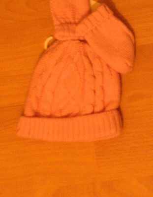 New with tags George baby girl  0-3 months pink woolly hat & mitten set