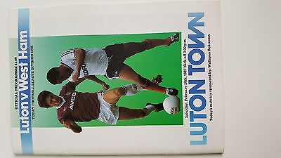 football programme..LUTON V WESTHAM..div one..28/02/1987