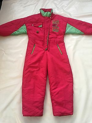 "Vintage 80's Pink Girls All In One Ski Suit SZ Waist 36"" Adjustable #342"