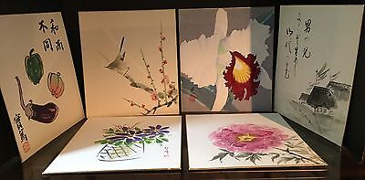 """Lot Of 6 Watercolor Asian Paintings On Board Signed & Stamped 10x9"""""""