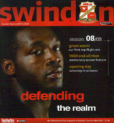 2008/9 Swindon Town v Queens Park Rangers QPR, Carling Cup, 12 Aug 2008