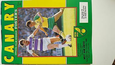 football programme..NORWICH V WESTHAM..div one..18/10/1986