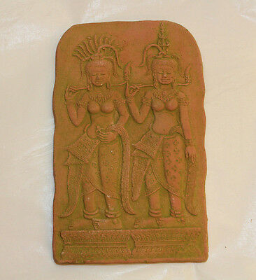 KHMER Clay BAS RELIEF Wall FRAGMENT Aspara ANGKOR Wat Reproduction Rare Gift