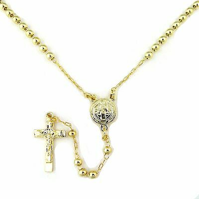 14k Gold Plated Prayer Bead San Benito Charm with Crucifix Cross Rosary 18""