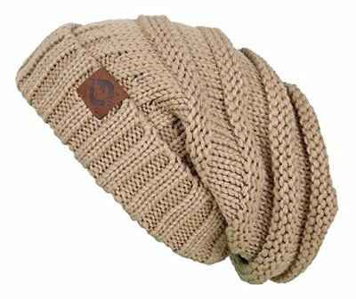 New Warm Oversized Chunky Soft Cable Knit Slouchy Crocheted Beanie Winter Hat