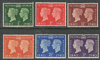 George VI - SG 479-484 - Centenary of First Stamps - Mint Hinged