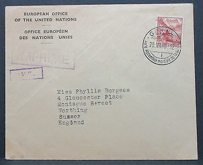 Swiss Geneve European Office Cover 10 Helvetia Sussex England CH Brief (L-2566