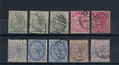 Malta 1885 -1890 Used&Unused &Mint Queen VIctoria 10  Stamps [A1600]