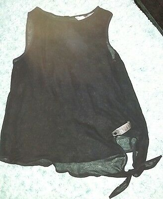 new look black sheer maternity top size 12