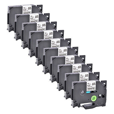 10 PK 1/2'' Compatible for Brother P-TOUCH TZ TZe 231 Black on White Label Tape