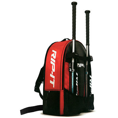Rip-It Player Backpack Baseball/Softball Bat Bag - Black/Scarlet