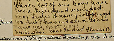 Wwi Post Card Newfoundland Regiment Private Lesley Harvey Wounded July 10, 1916