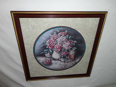 Home Interiors  Large '' Vase of Pink Roses  '' Picture  Gorgeous   22.5''