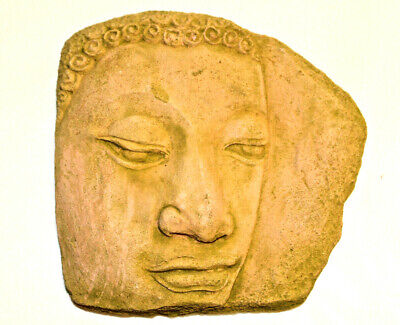 Buddha Face BAS RELIEF Clay KHMER ANGKOR Period Wat Nice Gift Thai Culture Decor
