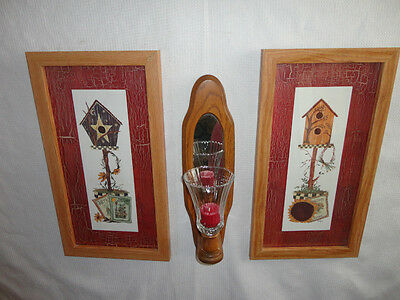 Home Interiors Set of 2- Country Birdhouse '' Pictures  &  Sconce  5pc Gorgeous