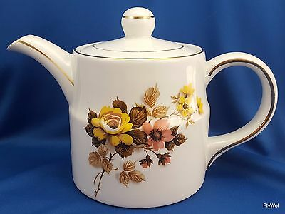 Wood and Sons Ellgreave Tea Pot White Ironstone w Yellow and Pink Flowers 6""