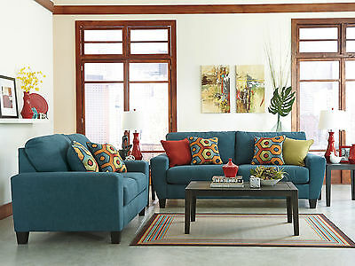 DILLON - New Modern Teal Microfiber Fabric Sofa Couch Set Living Room Furniture