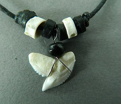 TIGER SHARK TOOTH NECKLACE  real sharks teeth strong cord approx 1.5cm long