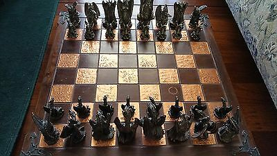 Graeme Anthony Imperial Dragon Chess Set with Handmade Copper Wood Board