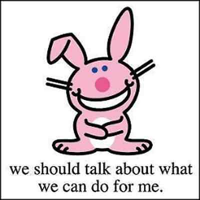 IT'S HAPPY BUNNY 1.5-in BADGE Button Pin We should talk NEW OFFICIAL MERCHANDISE
