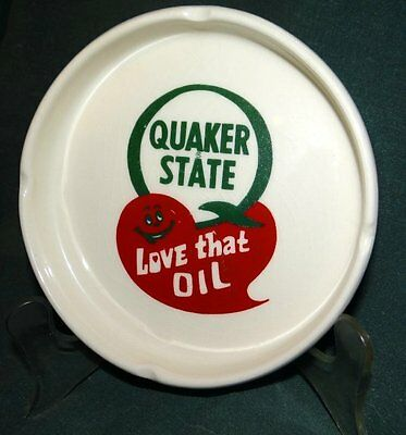 Vintage Quaker State Oil Advertising Ash Tray Love That Oil Free Ship!
