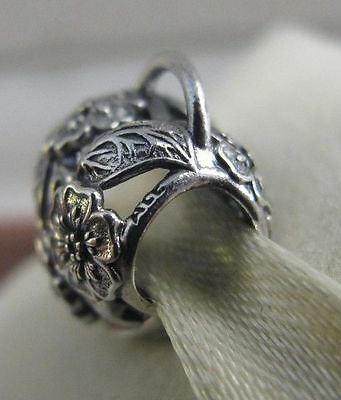 Genuine Pandora Sterling Silver Floral Heart Padlock Charm retired