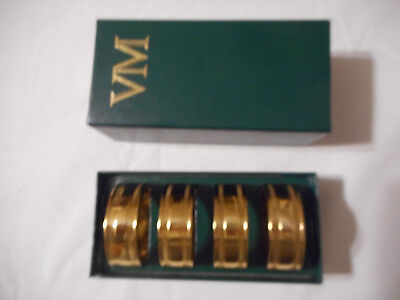 Vintage Set of (4) Virginia Metalcrafters VM Brass Napkin Rings Excellent 1690