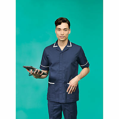 Premier Men Malvern Healthcare Tunic Contrast Piped Workwear Fitted Style Tunics