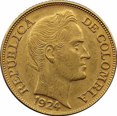 1924 Colombia 5 Pesos gold coin