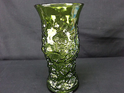 Vintage Textured Green Glass Vase E. O. Brody Co. Cleveland OH USA 1950s