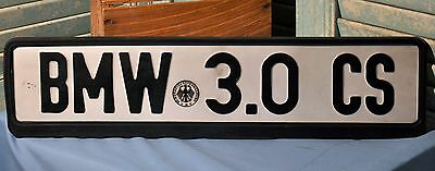 Vintage Collectible Customized German BMW 3.0 CS License Plate Frame Automobile
