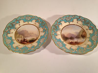 "(2) 1852 Hand Painted Copeland  Porcelain Cabinet Plates 9.25"" Lake Scenes"